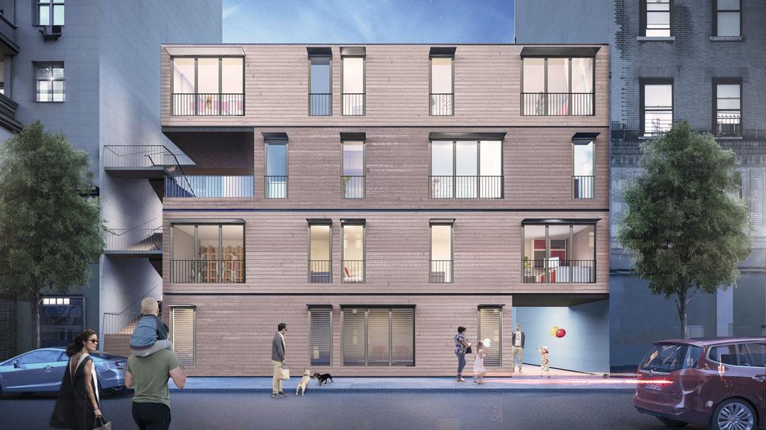 aktivhaus Module eingebaut zwischen bestehenden Wohnhäusern