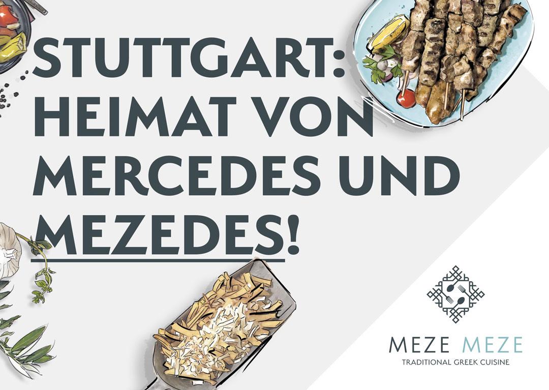 Postkarte vom Griechischen Restaurant Meze Meze