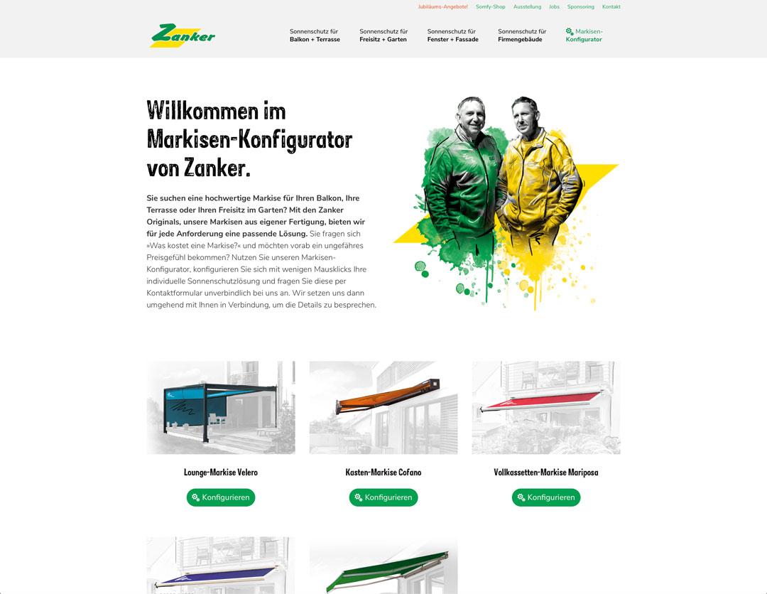 Zanker Website Ausschnitt Konfigurator