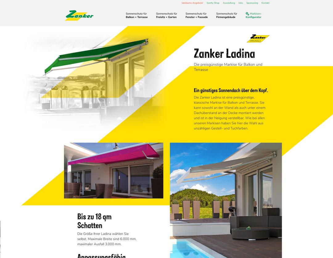 Zanker Website Ausschnitt Produktseite Markise Ladina