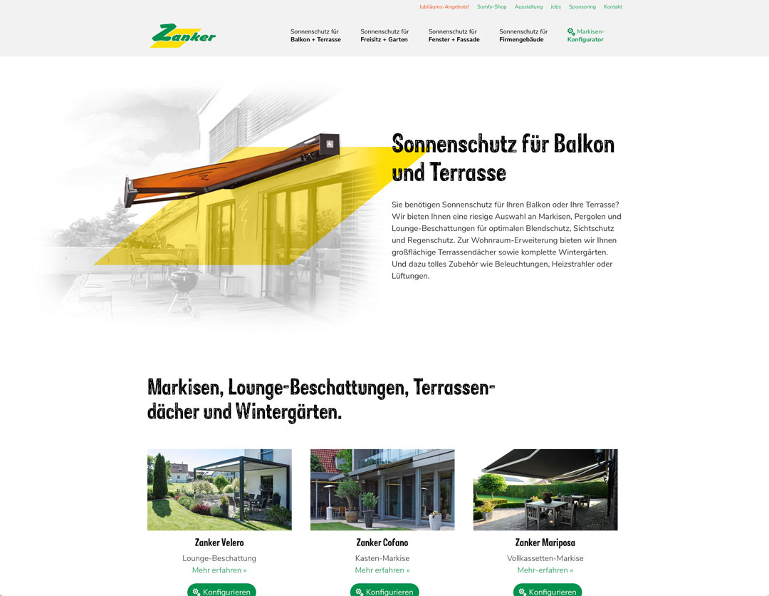 Zanker Website Ausschnitt Sonnenschutz für Balkon und Terrasse