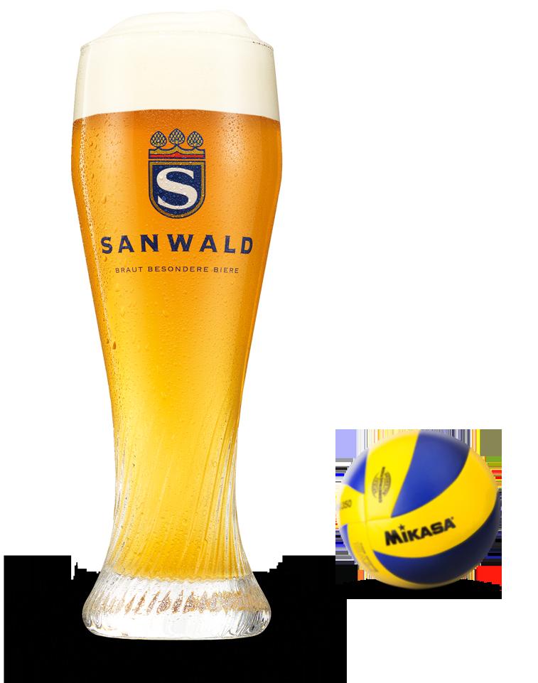 Sanwald Bierglas mit Volleyball