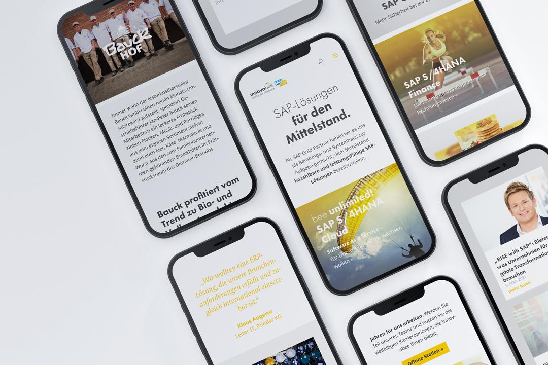 Innovabee Website auf dem Smartphone