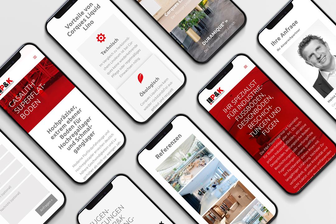 Website P&K Flooringgroup auf dem Smartphone