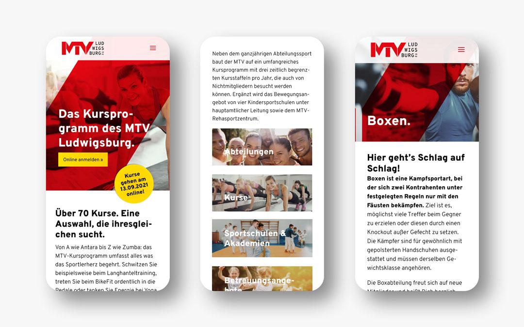 MTV Ludwigsburg Website Mobil